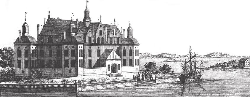 """Grönsöö ur """"Suecia Antiqua"""" graverat 1670"""